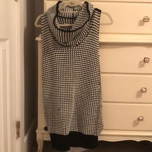 Black and White Wool Cowel Neck